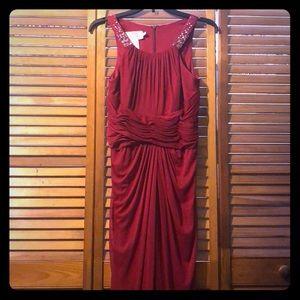Long red high neck bridesmaid dress